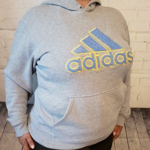 ADIDAS GRAY HOODIE NEON BLUE YELLOW LOGO MED